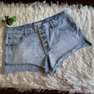 Free People High Rise Button Cut Off Jean Shorts